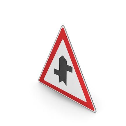 Verkehrszeichen Gestaffelte Kreuzung voraus zuerst links