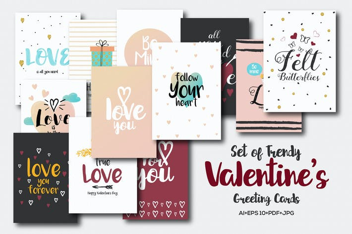 Thumbnail for Set of 20 Trendy Valentines Day greeting Cards Des