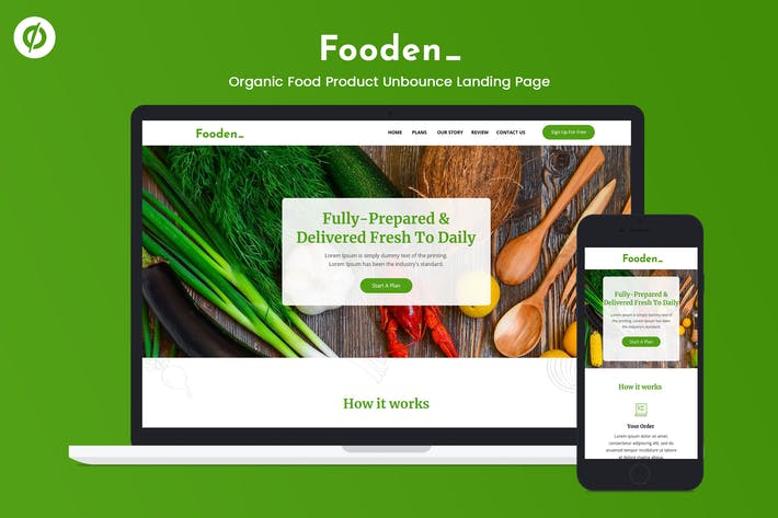 Thumbnail for Fooden — Unbounce Food Product Landing Page