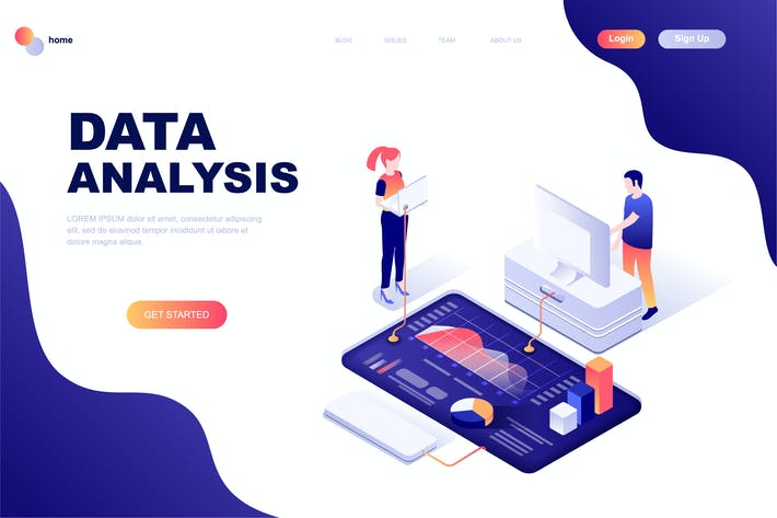 Thumbnail for Data Analysis Isometric Landing Page Template