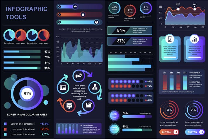 Thumbnail for Dark Infographic UI, UX, KIT Elements
