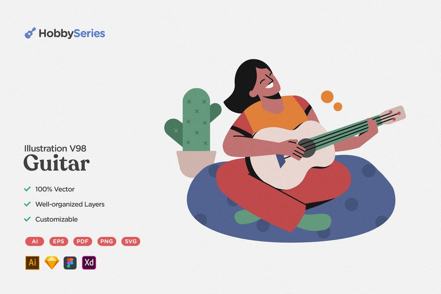 Hobby Illustration: Playing Guitar and Sing