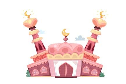 Mosquée de dessin animé rose