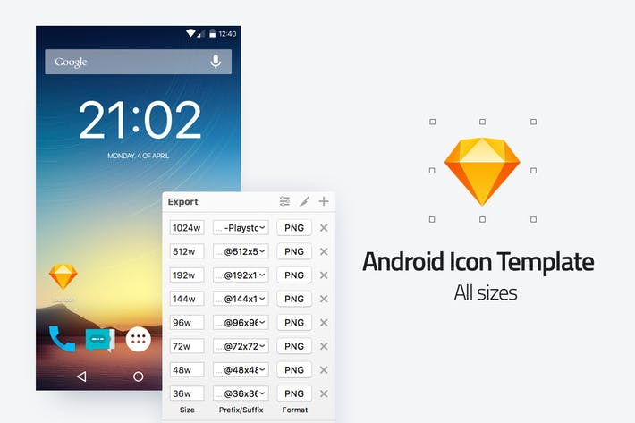 Thumbnail for Android icon template - All sizes