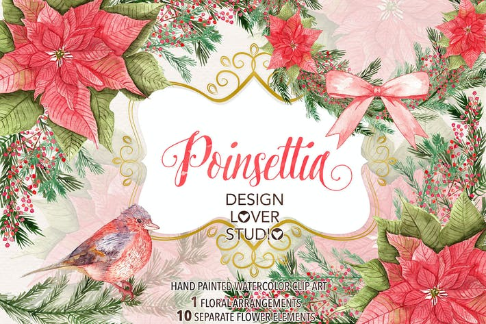 "Thumbnail for Watercolor ""Poinsettia"" design"