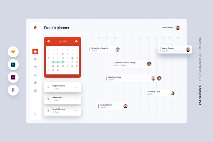 Thumbnail for Dashboard - Task Management Timeline App UI Kit
