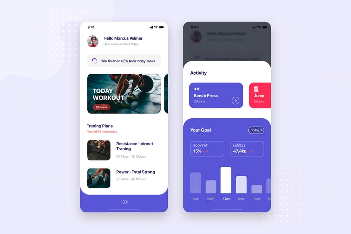 Thumbnail for Fitness Training Mobile App UI Kit Template