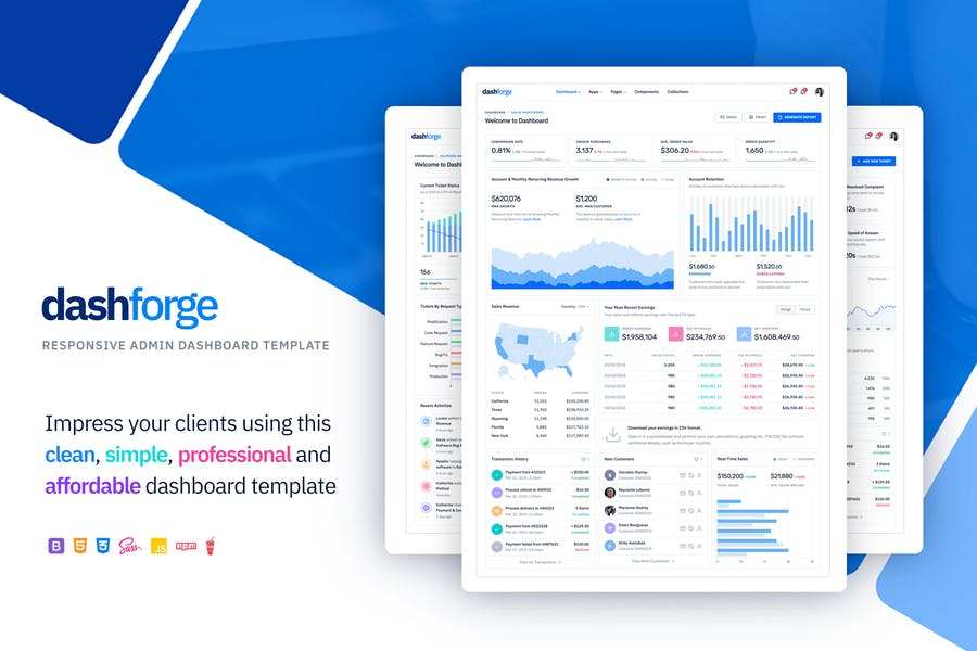 Dashforge Responsive Dashboard Admin Template