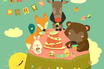 Fondo de cumpleaños con animales Alegre. Vector