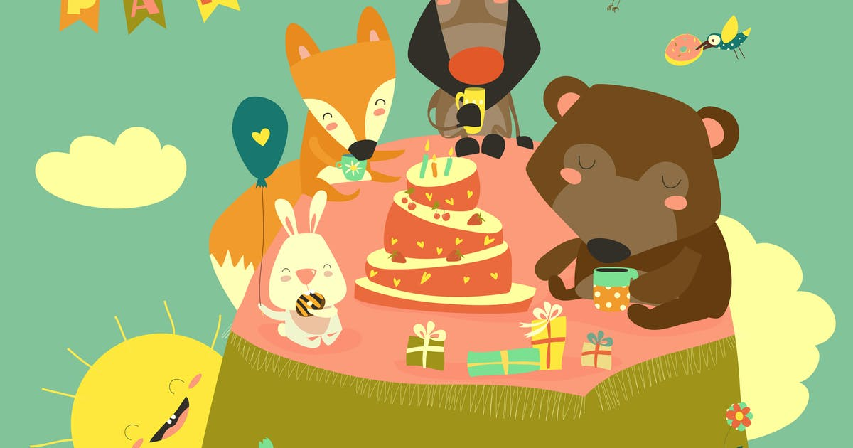 Download Birthday background with happy animals. Vector by masastarus