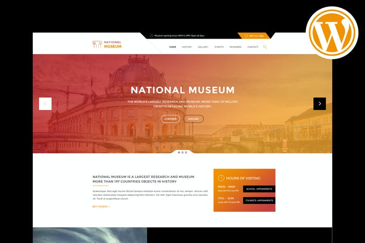 Thumbnail for Museum - Responsive WordPress Theme