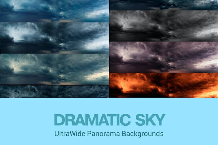 Thumbnail for Ultra Wide Set of Dramatic Sky Backgrounds Set