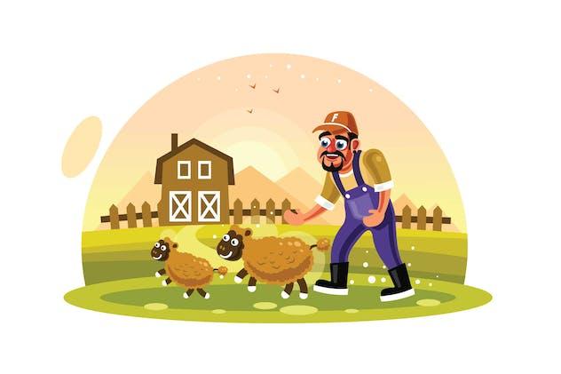 Farmer Breeding Sheep Wool Farm