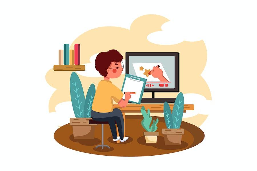 Online-KursVektor illustration Konzept