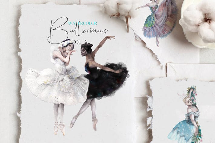 Thumbnail for Watercolor ballet dancers set - vol.2