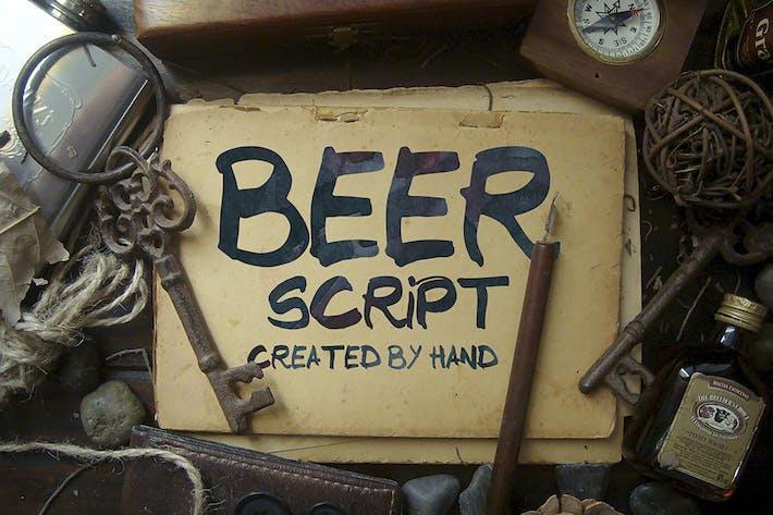 Tipo de letra de escritura de cerveza