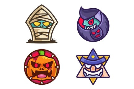 Halloween Character Sticker Design Collection