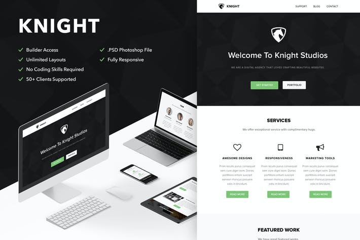 Thumbnail for Knight - Responsive Email + Themebuilder Access