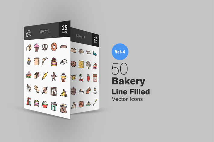 Thumbnail for 50 Bakery Line Filled Icons