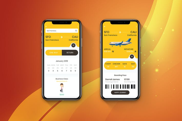 Thumbnail for Flight Booking Mobile Ui  - H