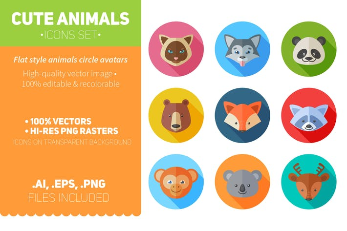 Thumbnail for Flat Animals Icons Set