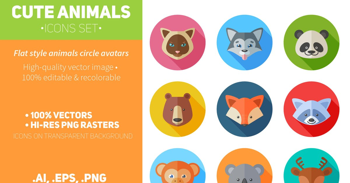 Download Flat Animals Icons Set by Yuzach