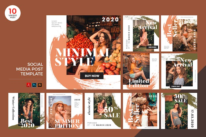 Summer Fashion Social Media Kit PSD & AI Template