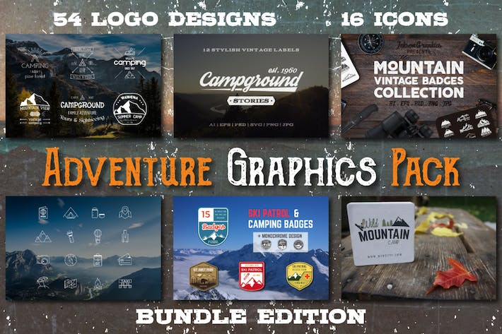 Thumbnail for Vintage Adventure Graphics Pack / Retro Logo/Icons