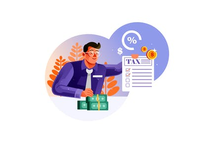 Businessman showing tax document