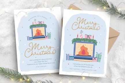 Christmas Flyer with Festive Scene