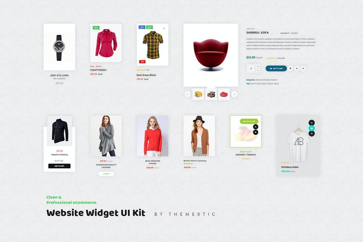 Thumbnail for 10 eCommerce Website Widget UI Kit Elements PSD