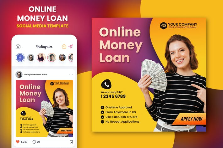Thumbnail for Online Money Loan Instagram Template