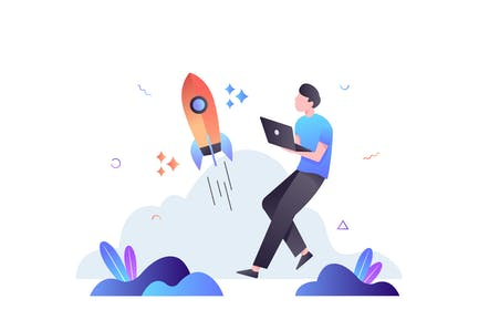 Launching a Startup Business Illustration