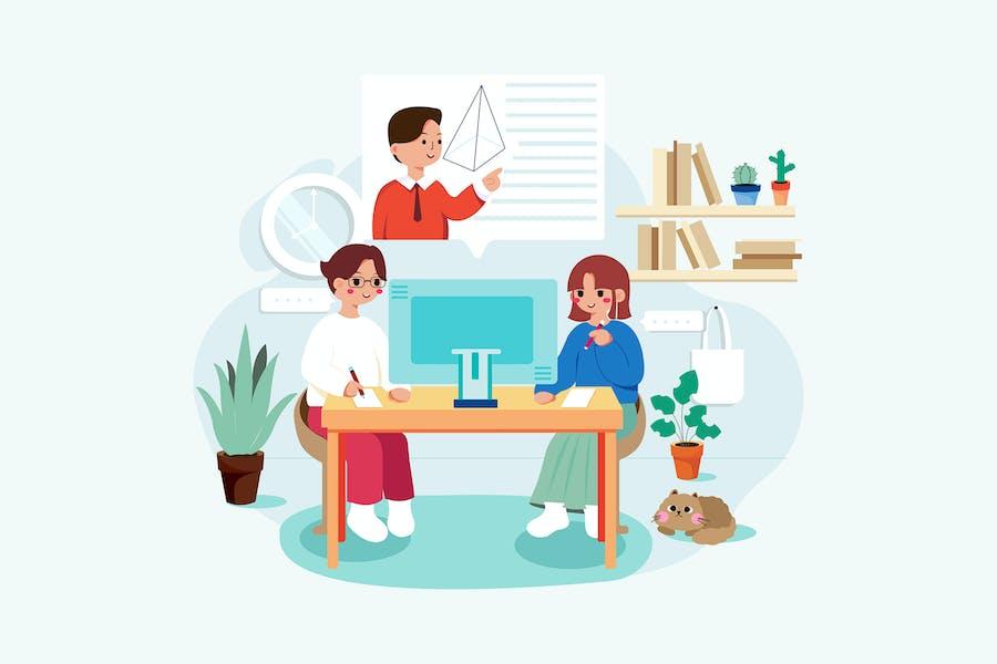 Der Junge und das Mädchen lernen Online-Kurs