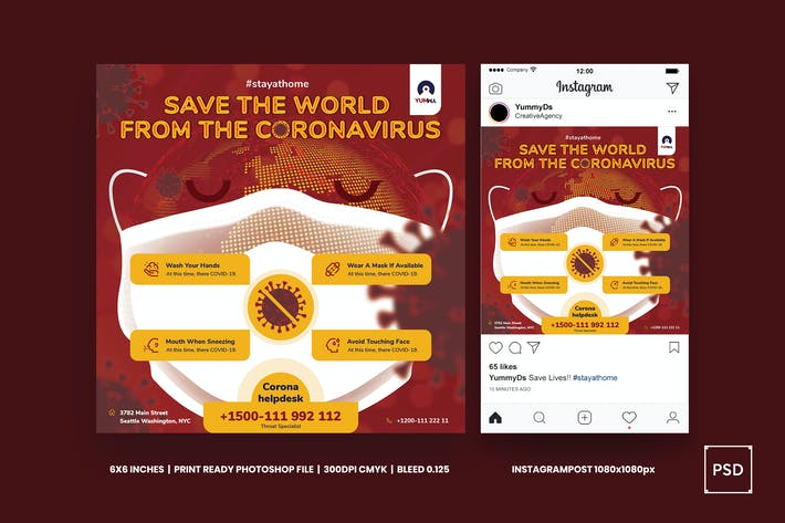 Thumbnail for Coronavirus save the world square flyer
