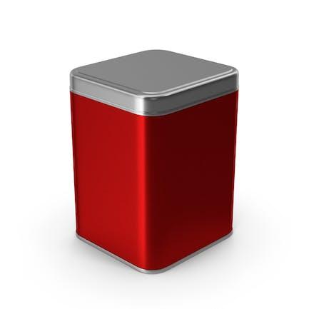 Tarro metálico cuadrado rojo