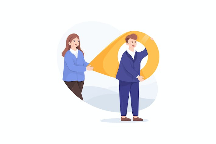 Thumbnail for Business man and woman carry a large map pointer