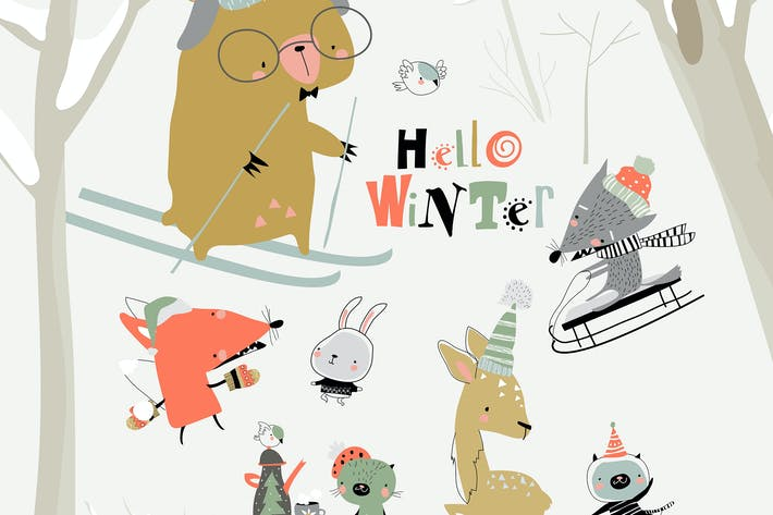 Thumbnail for Vector set with cute animals in winter forest