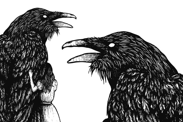 Thumbnail for Raven Scratchboard Illustration