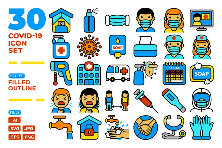 Thumbnail for Covid-19 Icon Set (Filled Outline)