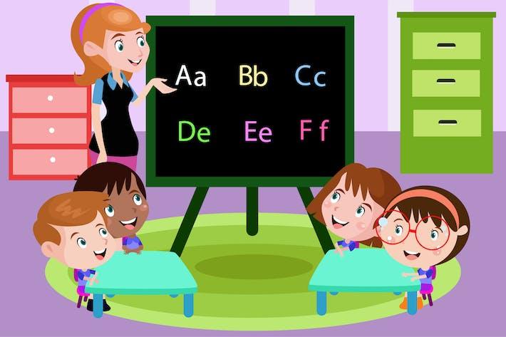 Thumbnail for Alphabet Lesson For Kids - Vector Illustration