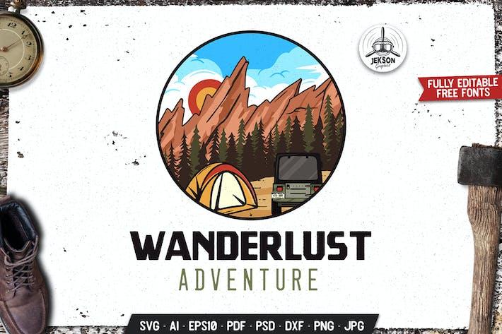 Wanderlust Adventure Emblem Logo SVG. Retro Design