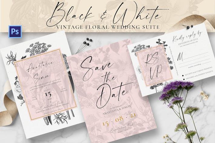 Thumbnail for Black & White Vintage Floral Wedding Suite
