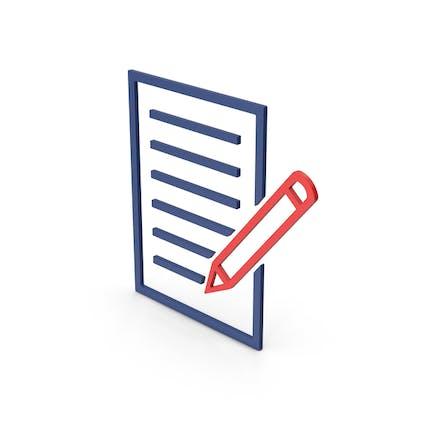 Documento de símbolo con lápiz coloreado