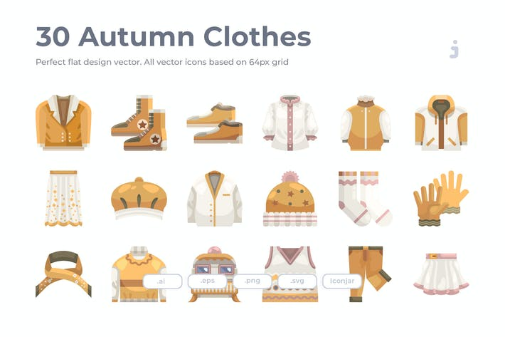 Thumbnail for 30 Autumn Clothes Icons - Flat