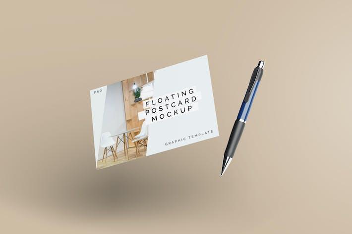 Thumbnail for Floating Postcard Mockup