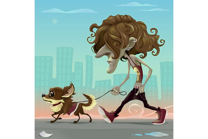 Thumbnail for Guy with Dog Walking on the Street
