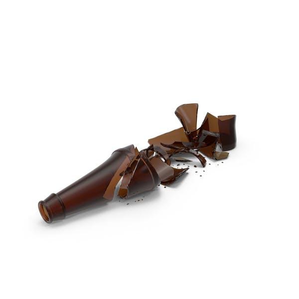 Botella de cerveza marrón roto