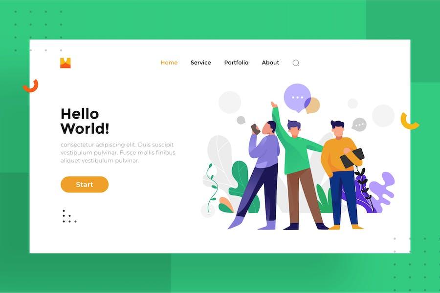 Hello world Illustration For Website