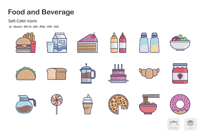 Thumbnail for Food and Beverage soft color icons